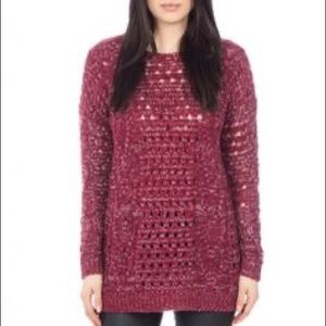 Pink Martini Red Open Stitch Knit Pullover Sweater